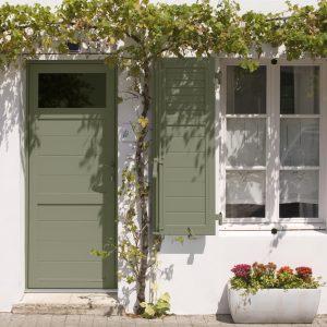 grapes growing at the front of a typical house at Ile de Ré; La Flotte, France